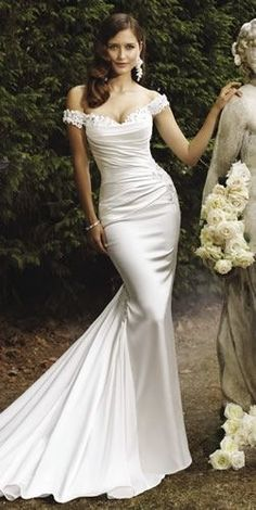 Super glamorous wedding dress! Off the shoulder lace straps, and fitted, draped satin. Sophia Tolli - Magnolia