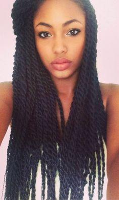 """♕ AFRODESIAC ETHNIC WOMEN OF CULTURE WORLDWIDE How to do long,medium, jumbo senegalese twist hairstyles, even with color. Marley hair and havana hair used, crochet tutorials DIY in small amount of time on curly or straight locs. Cute braids. http://www.shorthaircutsforblackwomen.com/how-to-do-havana-twists/                                                                                                                                                      More"