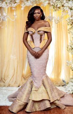 African Bridal Dress, African Lace Dresses, Latest African Fashion Dresses, African Print Fashion, Ghana Traditional Wedding, Nigerian Wedding Dresses Traditional, African Traditional Dresses, Event Dresses, Bridal Dresses