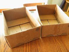 Before & After: Drab Cardboard Boxes Turned Chic Organizational Bins Namely Original Cardboard Furniture, Cardboard Crafts, Fabric Crafts, Cardboard Boxes, Cardboard Playhouse, Fabric Covered Boxes, Fabric Boxes, Diy Storage Boxes, Craft Storage