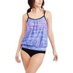 Free Tech Women's Sporty Blouson Tankini Top, Purple