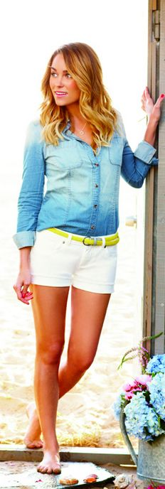 Who made  Lauren Conrad's denim ombre button down top, yellow belt, and white denim shorts?