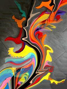 BRANCHE EN FEU (Painting) przez Catherine WERNETTE « les hommes aiment avant tout la lumière, ils ont inventé le feu. » Guillaume Apollinaire