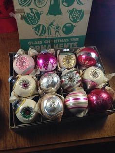 Vintage Shiny Brite Christmas Ornaments  12 by SimplyAgain on Etsy