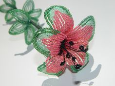 Watermelon Inspired French Beaded Flower by BeadedFleur on Etsy, $25.00