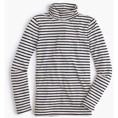 J.Crew Striped Tissue Turtleneck T-Shirt ($60) ❤ liked on Polyvore featuring tops, t-shirts, stripe t shirt, tissue t shirts, tissue tee, slim fit tee and striped top