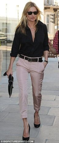 work outfit pastel cropped trousers, black button down