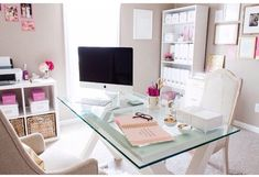 I love the glass desk with a hit of color
