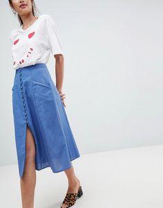 ASOS | ASOS DESIGN full midi skirt with button front
