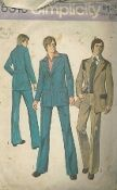 An original ca. 1974 Simplicity Pattern 6310.  Men's Suit - The pants with fly front zipper have back welt pockets, top stitched side front pockets, waistband and purchased belt slipped thru self fabric carriers. The top stitched lined jacket V1 and 2 have front button closing has notched collar, long set in button trimmed sleeves, pleated patch pockets with flaps, inside breast pockets and back pleat, inset and vent. V2 jacket has contrasting yokes and pocket flaps.