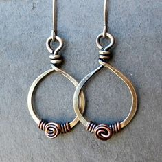 Mixed Metal Earrings Sterling Silver Spiral Earrings, Copper Earrings Wire Wrapped Teardrop Earrings, Eco Friendly Jewelry Gifts for Her by adorned7 on Etsy