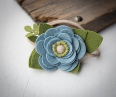 Denim Blue Felt Flower Headband