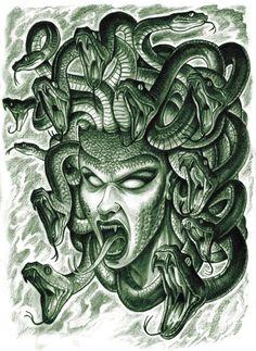 Medusa Face With Snakes Tattoo Designs by Nahuel Medusa Drawing, Medusa Art, Medusa Gorgon, Greek Mythology Tattoos, Greek And Roman Mythology, Mythological Creatures, Mythical Creatures, Medusa Tattoo Design, Tattoo Designs