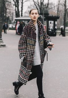 Street Style Paris Haute Couture II. checked coat trend