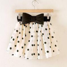 Sweet Ruffled Bow Polka Dot Print Organza Women's SkirtVintage Skirts | RoseGal.com