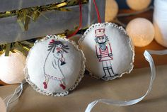 gift for him, gift for her, Hand Embroidered Ornaments, Nutcracker Christmas Ornament, Ballerina Ornament, Xmas Tree Decoration, Soft Stuffed New Year Ornament