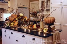 37 Awesome Fall Kitchen Décor Ideas : 37 Awesome Fall Kitchen Décor Ideas With White Kitchen Wall Island Sink Oven Stove Cabinet Pumpkin Ornament Storage Hardwood Floor