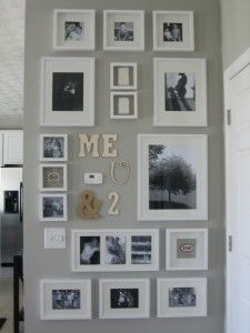 Family photo gallery wall (Pictures, words, footprints)