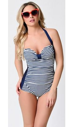 1950s Pin Up Navy & White Stripe Swizzle Sheath Halter Swimsuit