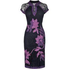Phase Eight Kim Tapework Dress, Black/Purple ($200) ❤ liked on Polyvore featuring dresses, short dresses, vestidos, vestiti, black mini dress, see through dress, black dress, short sleeve cocktail dress and black v neck dress