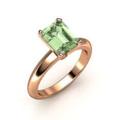 Emerald-Cut Green Amethyst ~