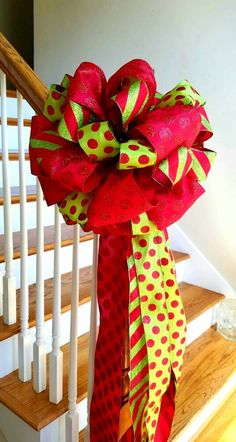 Check out this item in my Etsy shop https://www.etsy.com/listing/477185631/red-tree-topper-bow-large-red-and-lime