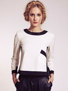 Octavia Monochrome Blouse with Zip Back and Pocket | Dahlia