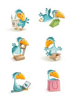The character for the online shopping site. Cartoon Birds, Shopping Sites, Online Shopping, Cool Sketches, Bird Art, Illustrators, Illustration Art, Character Design, Clip Art