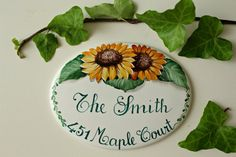 Address plaque hand painted on porcelain, with sunflowers. House sign, custom house plaque.