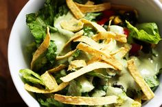 salad with creamy cilantro lime dressing
