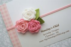 Felt Flower Headband in Pink and White Roses  by MyMondaysChild, $6.99