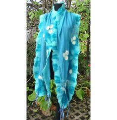 Cian Blue Nuno Felt Wrap Scarf Morning Dew handmadeOOAK by RumiWay, $57.00