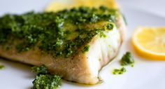 Broiled fish with chermoula. This recipe uses white fish, such as halibut, mahi mahi or striped bass, following the Seafood Watch program recommendations.