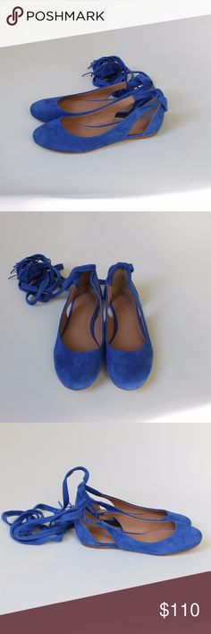 """Sigerson Morrison Lace Up Suede Ballet Flats Elias Sigerson Morrison """"Elias"""" soft blue suede wrap ballet flats. Leather inner and outer sole. Worn once and in perfect condition. Size 7.5. Fits true to size. Sigerson Morrison Shoes Flats & Loafers"""