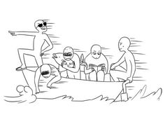 Draw the squad boat Drawing Meme, Funny Drawings, Art Drawings Sketches, Drawing Reference Poses, Drawing Poses, Base Anime, Draw Your Oc, Boat Drawing, Draw The Squad