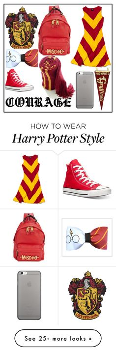 """""""Gryffindor"""" by webstersiobhan on Polyvore featuring Converse, Moschino, Slater Zorn and Native Union"""
