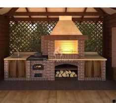 ideas exterior brick design fireplaces for 2019 Backyard Kitchen, Outdoor Kitchen Design, Backyard Patio, Brick Design, Patio Design, Exterior Design, Barbeque Design, Parrilla Exterior, Brick Grill