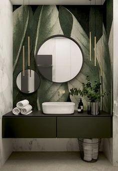 Stylish apartment for a young couple in Krakow - Dezign Ark (Beta) Badezimmer Bathroom Interior Design, Interior Decorating, Interior Design Wallpaper, Modern Bathroom, Bathroom Green, Small Bathroom, Bathroom Ideas, Tropical Bathroom Decor, Jungle Bathroom