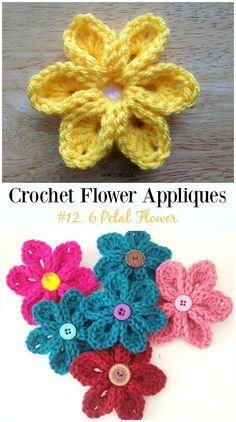 6 Petal Flower Free Crochet Pattern-Easy #Crochet #Flower Appliques Free Patterns