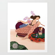 Monday Mood Art Print by artyguava Disney Characters, Fictional Characters, Watercolor, Mood, Art Prints, Photo And Video, Disney Princess, Drawings, Illustration