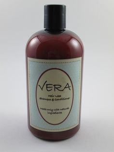Vera Hair Loss Shampoo and Conditioner 16oz.  If you are losing your hair it is important to stop using shampoos with chemicals or strong cleansers. This natural Hair Loss Shampoo and Conditioner gently cleanses the scalp and hair without stripping natural oils. Improves for a healthier scalp, restores essential nutrients while it gently cleanses pores to unblock follicles and encourage growth. Color safe.