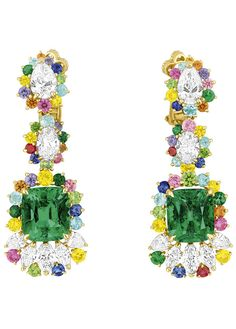 Cher Dior Fascinante Emerald earrings Front ~ Victoire de Castellane's new colourful collection of Dior haute joaillerie is the stuff of fantasy.