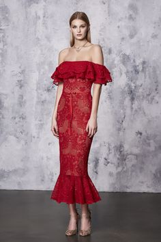 Resort18 #style review: Marchesa Notte's dreamy confections were inspired by interior designer Tony Duquette | Off-the-shoulder red midi pencil dress | The Luxe Lookbook