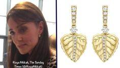 "•Kiki McDonough ""Lauren"" Gold Pave Diamond Leaf Earrings ($3370)"