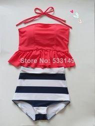 Online Shop pinkish orangish navy stripe HIGH WAISTED Bikini Set RETRO Swimsuits Suits Swimwear Vintage Bandeau M L XL bathing suit women Aliexpress Mobile