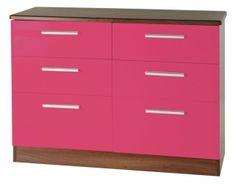 Knightsbridge Pink Chest of Drawer - 6 Drawer Midi