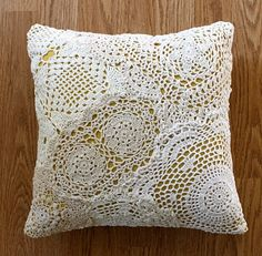Doily Pillow. I love doily pillows...even though my dogs tear them up super fast. If I made them myself maybe I wouldn't be so upset when they dug and circled till the pillow was comfy tearing the beautiful crochet into pieces :P.