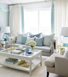 Turquoise Coastal Living Room Design   Living room   Pinterest ...