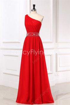 fancyflyingfox.com Offers High Quality Spring Red One Shoulder Bridesmaid Dresses Long,Priced At Only US$146.00 (Free Shipping)
