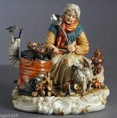 """Porcellana di Capodimonte """"LA CALDARROSTAIA"""" • EUR 560,00"""